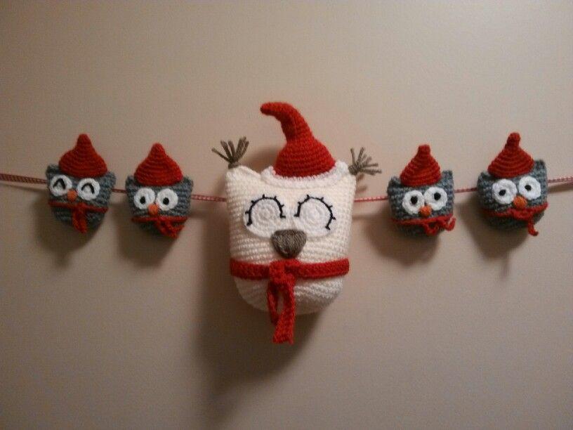 My christmas owls on the front door :)