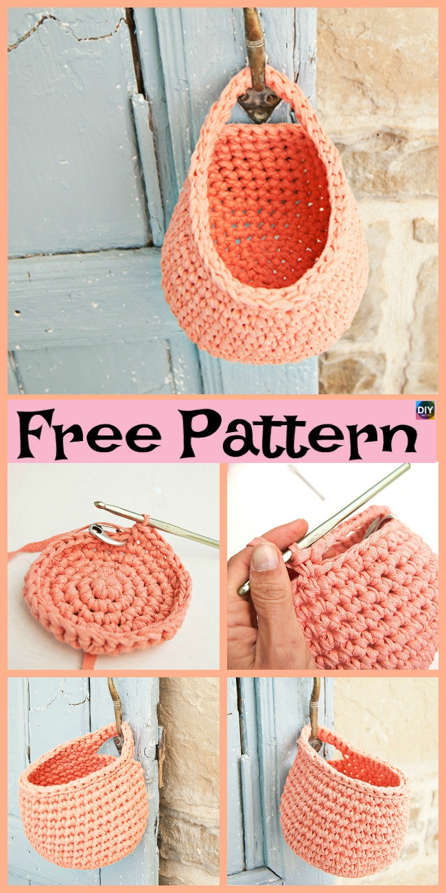 15 Useful Crochet Hanging Basket - Free Patterns #crochetdiy