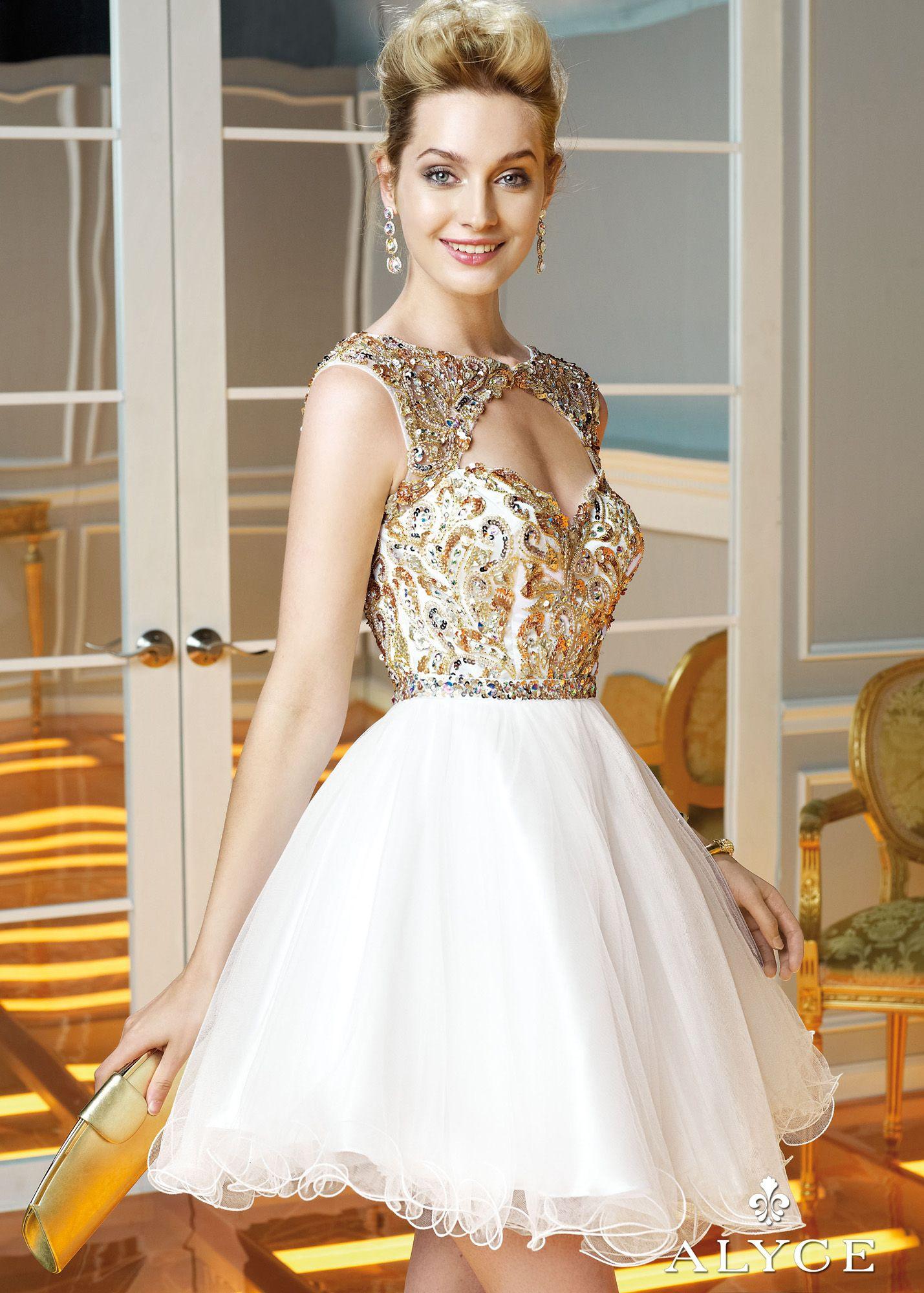 Alyce Paris 3583 - White/Gold Beaded Open Back Sweet 16 Dresses ...