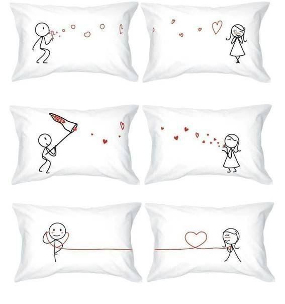 Fundas de almohadas para parejas románticas | casa