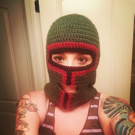 For under my helmet on cold days.... Crochet Boba Fett Ski Mask ...