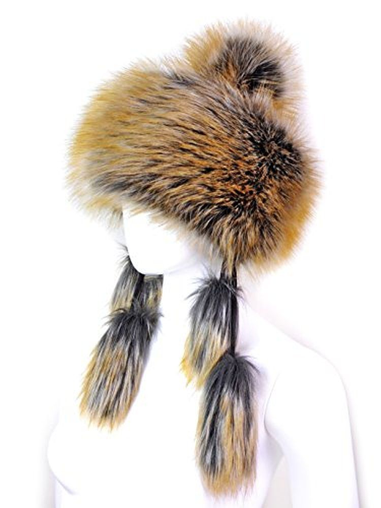 a1c38c029fa Futrzane Faux Fox Fur Winter Mongolian Hat Women Pompom Cossack for Ladies