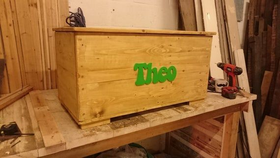 Personalised - Storage Toy Box - Handmade from Reclaimed Wood - Solid Wood - Waxed or Painted - Name #bigtoybox Personalised - Storage Toy Box - Handmade from Reclaimed Wood - Solid Wood - Waxed or Painted - Name #bigtoybox