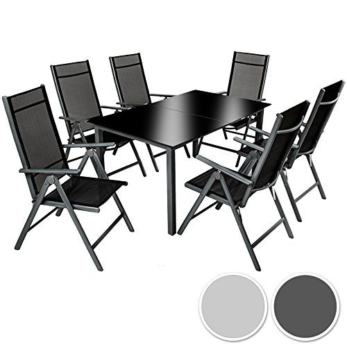 TecTake Aluminium 61 salon de jardin ensemble sièges meubles chaise