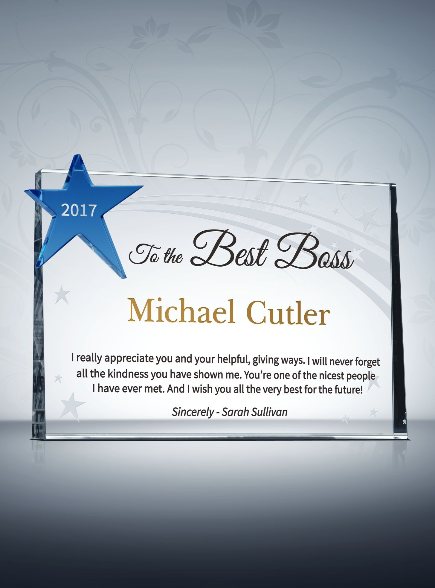 star boss appreciation plaque