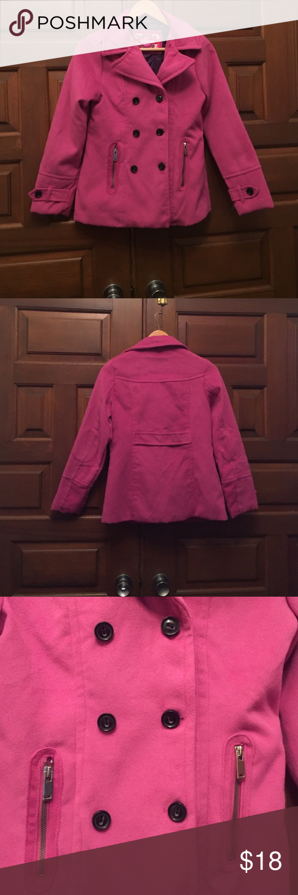 Pink winter coat with zipper pockets Cute pink winter coat. Has black buttons and zipper pockets. There are buttons on the ends of the sleeves and buttons on the shoulders. There is a strap on the back and it has elbow pads. Never worn in great condition. 100% polyester shell. 100% polyester lining.  Faux fur:  55% acrylic and 45% polyester Dollhouse Jackets & Coats Pea Coats