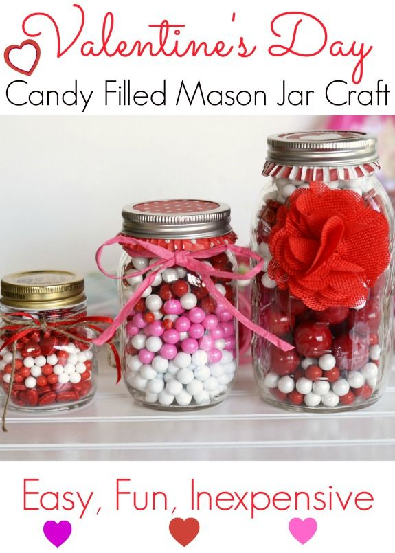 Valentine S Day Themed Candy Filled Mason Jars Diy Top Bloggers