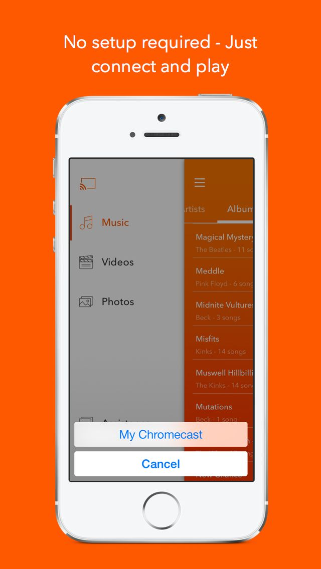iPhone App Cinch for Chromecast Music, Photo, and Video