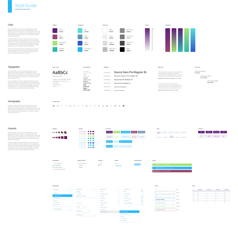 Adobe XD styleguide template | Inspirational Style Guides