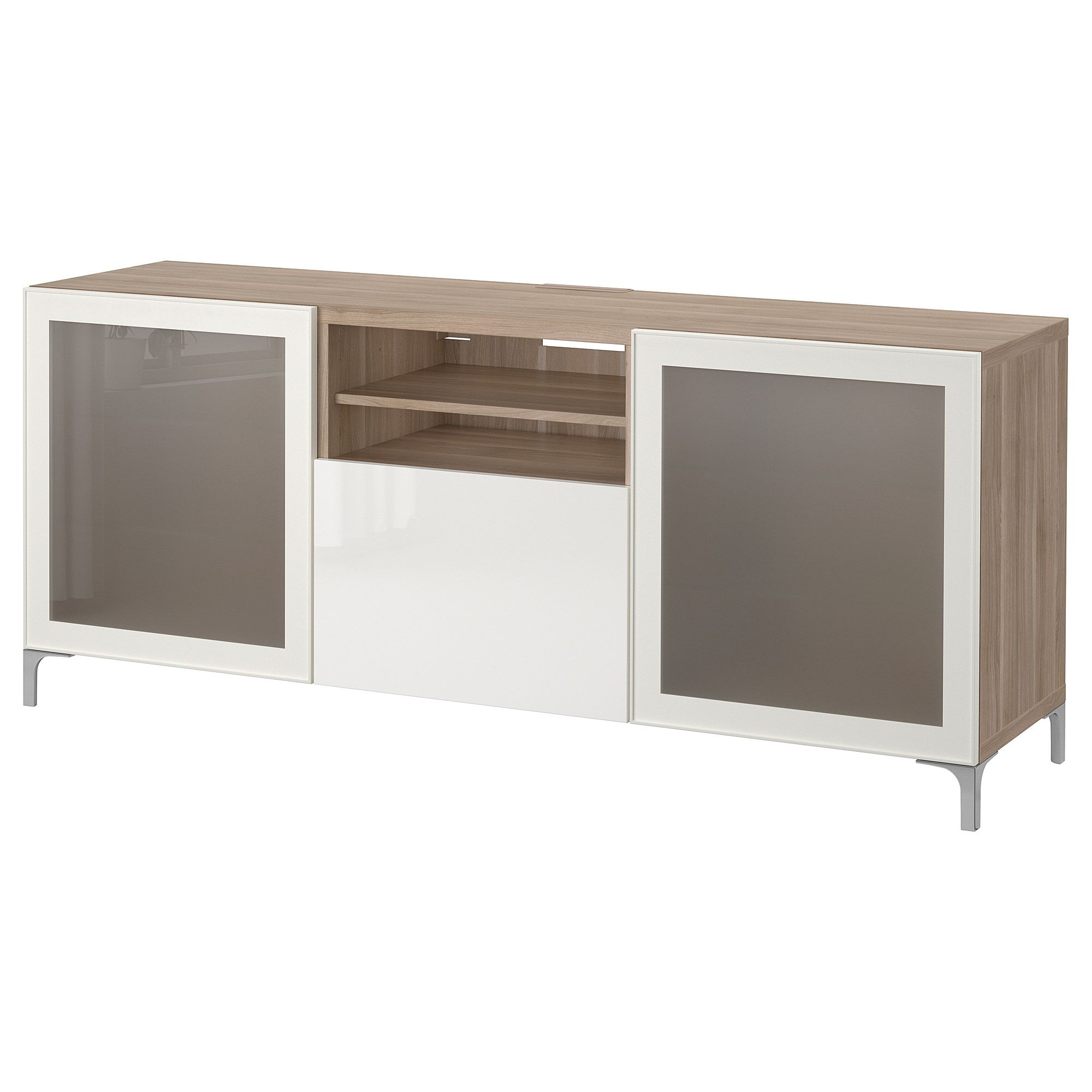 Besta Tv Unit With Drawers Walnut Effect Light Gray Selsviken High Gloss White Frosted Glass 70 7 8x15 3 4x29 1 8 Buy Online Or In Store Ikea Tv Bench Bench With Drawers Ikea