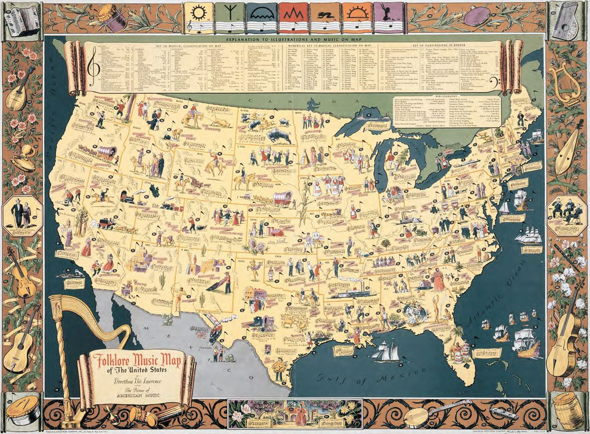 Folklore music map of the United States