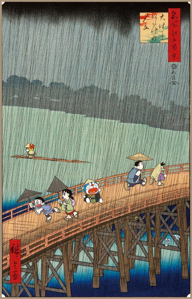 Doraemon e Nobita Nobi attraversano il ponte Shin-Ōhashi nella nuova stampa artistica in stile ukiyo-e di Collab Japan