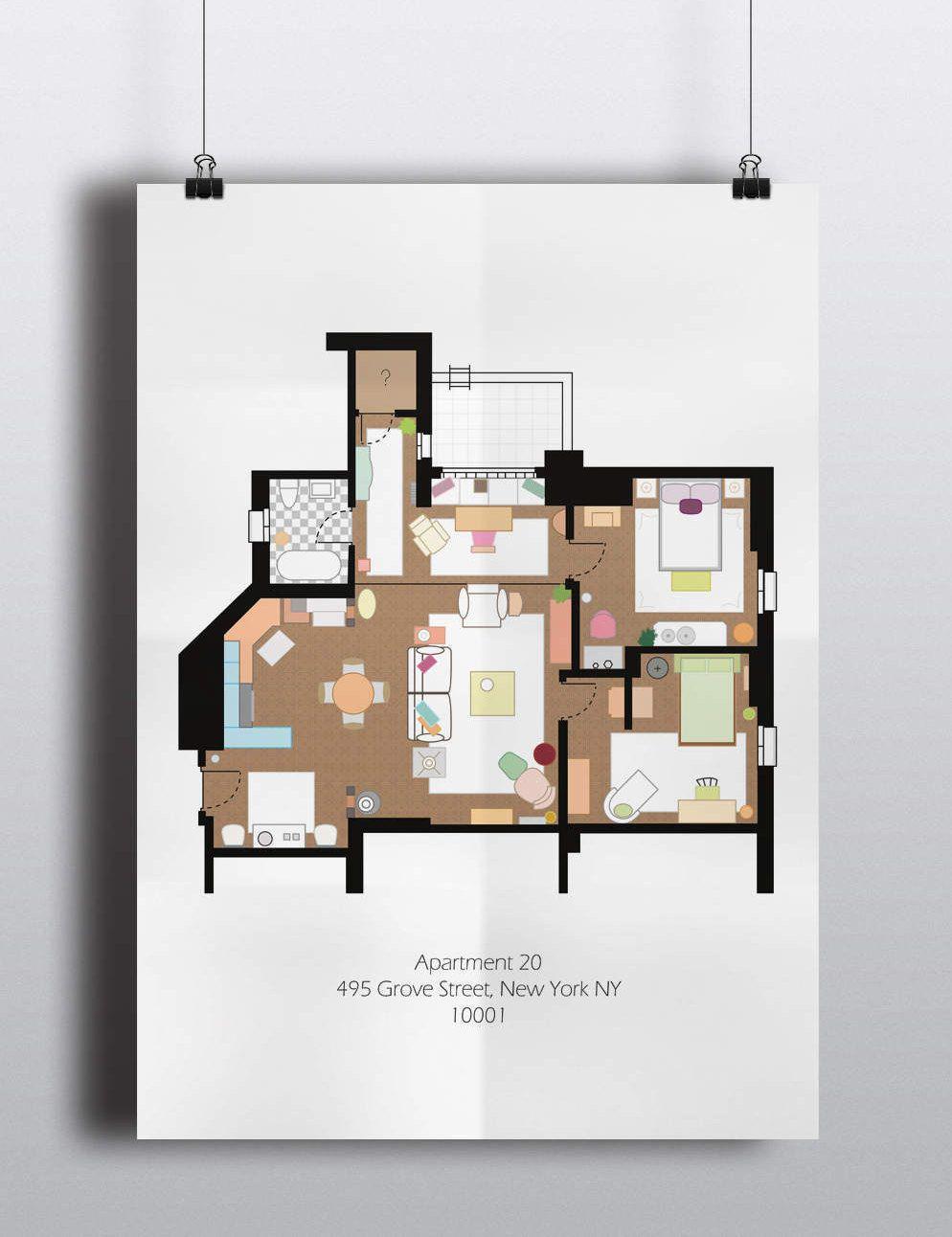 Friends Poster Print Monica Geller Apartment Floor Plan Digital Download Wall Art Tv Show Minimalist Blueprint Floor Plan Art Poster Prints Apartment Floor Plan Friends Poster