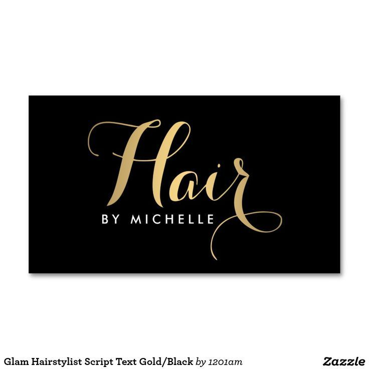 Glam Hairstylist Script Text Gold/Black Business Card | Glam hair ...