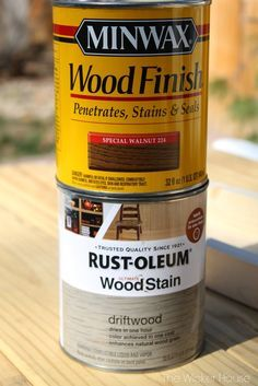 I stained the wood using these two stains.I first used the gray driftwood stain and then layered it with the special walnut. The result wasa pretty weathered-wood look.