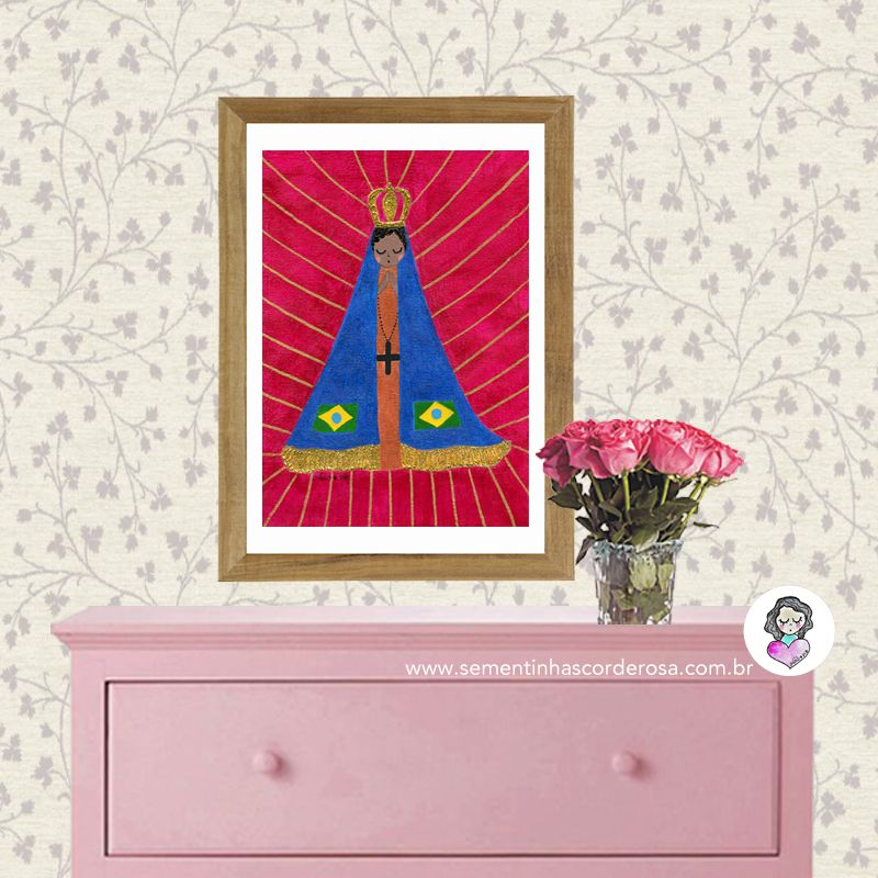 Poster Nossa Senhora Aparecida, por Carol Dib! Reprodução de pintura em tela.