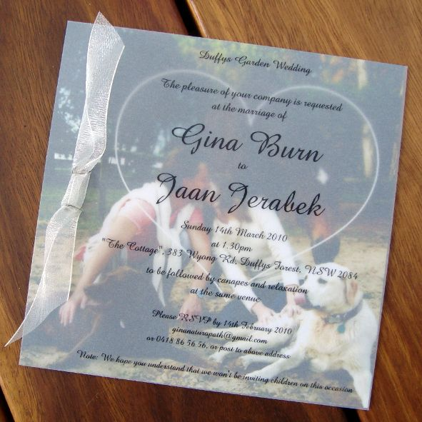 Example Of Wedding Invitation With Vellum Overlay Square