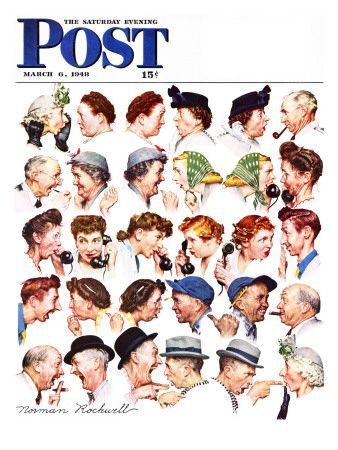 """""""Chain of Gossip"""" Saturday Evening Post Cover, March 6,1948"""