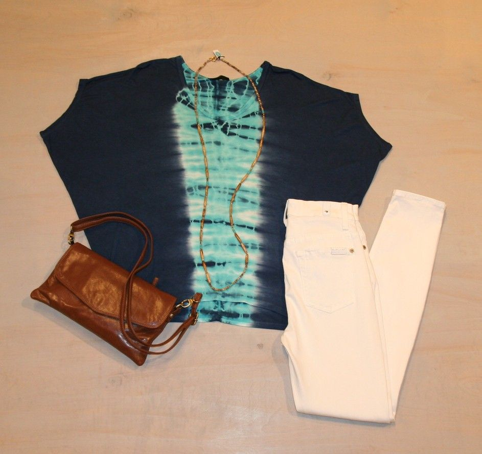 Friday Travel Day  Navy & Teal Tie Dye Shirt by KLD $62 High Waist White Skinny Jean by 7 For All Mankind $160 Wood & Turquoise Bead Necklace by iSOBEL $138 Leather Crossbody by Latico $108