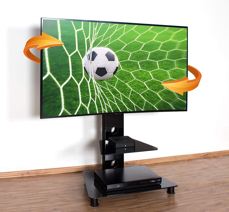 Ricoo Meuble Sur Pied Tv Design Fs707b Support En Verre Colonne Led Lcd Plasma Qe Oled 4k Smart Socle Tele Ecran Original M Mobilier De Salon Tv Design Pied Tv