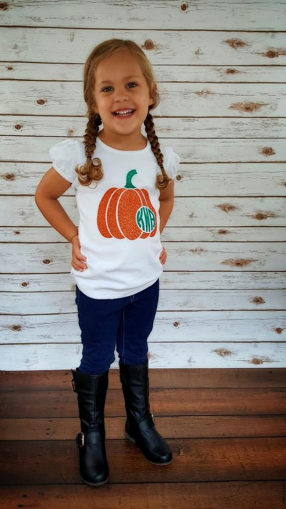Your child needs this adorable glitter monogrammed pumpkin shirt! Its the perfect addition to your childs fall outfit. Perfect for those pumpkin patch photos! The glitter is built into the heat transfer vinyl, therefore it does not come off. Now offered as a completed shirt or you can purchase the iron on decal set only for you to apply to a garment or bag or whatever you would like. Extremely easy to apply to any shirt, dress, garment, bag, etc. (works best with cotton or cotton/poly bl... #pumpkinpatchoutfit