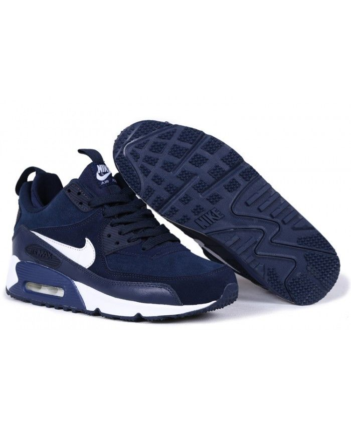 Homme Nike Air Max 90 Bleu Foncé Blanc Chaussures,nike