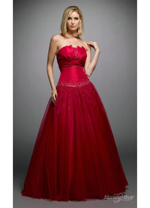 So beautiful,Red Strapless Ball Gowns Evening Dress | Fashion ...