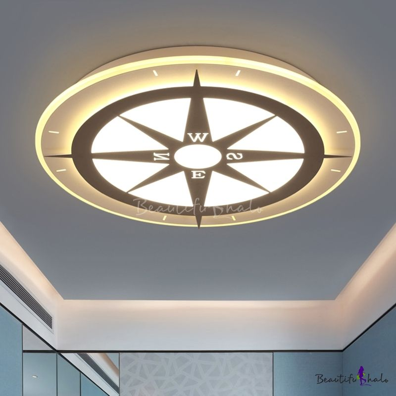 Modern Style Compass Boys Room Led Flush Ceiling Light Ultra Thin Ceiling Lights Ceiling Design Modern Flush Ceiling Lights