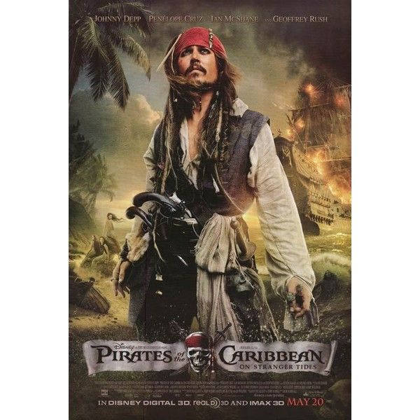 PIRATES OF THE CARIBBEAN ON STRANGER TIDES POSTER (57 BRL) ❤ liked on Polyvore featuring home, home decor, wall art, movie wall art and movie posters