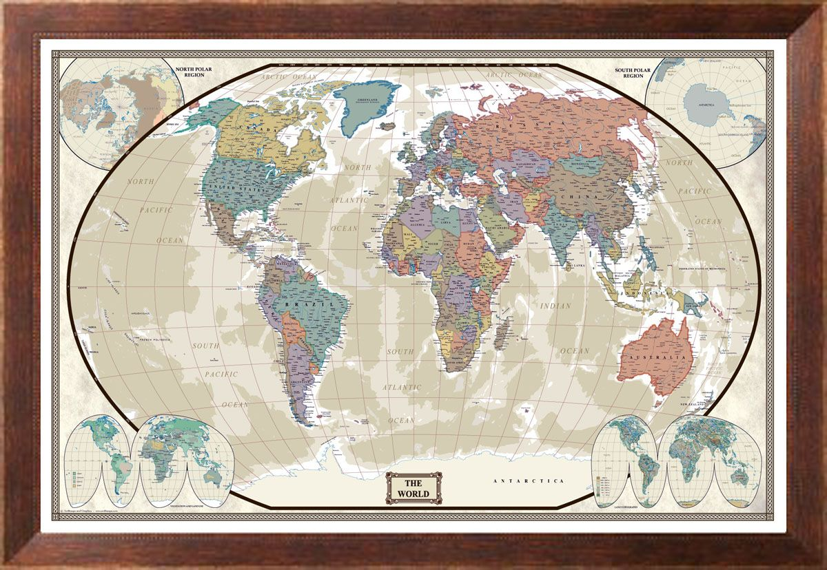 Modern Day as Antique Giclee Canvas Wall Map | Black decor, Wall ...