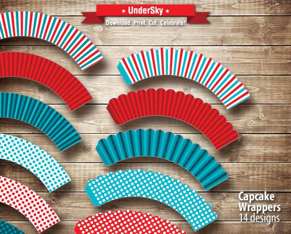 DIY Cupcake Wrappers for Mustache Mania Birthday by UnderSky, $3.85
