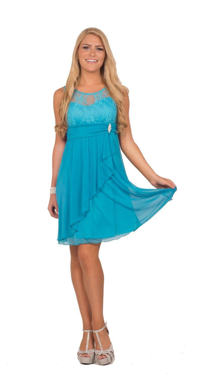 Amazon.com: Juniors Formal Lace Overlay Illusion Sweetheart ...