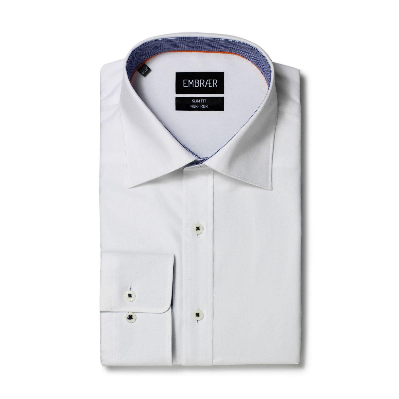 Business Hemd Slim Fit zweifarbig in Weiß und Dunkelblau von Embraer