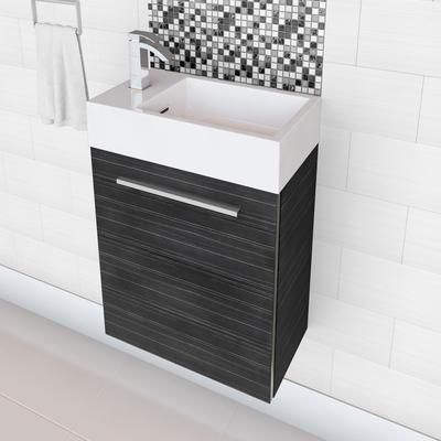 Cutler Kitchen U0026 Bath   Boutique Collection High Gloss Space Saving Vanity   Grey Wood Grain