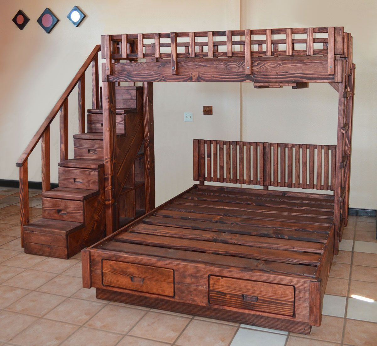 the stairway bunk set options twin top bed queen bottom bed redwood stairway with drawers. Black Bedroom Furniture Sets. Home Design Ideas