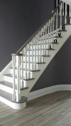 White Spindles Need To Be Iron Balusters But Interesting With Grey Stair  Tred And Banister Rails