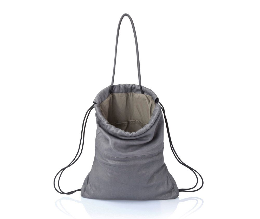 Gray leather tote bag- leather backpack purse MULTI way leather bag SALE  soft leather handbag laptop ba drawstring backpack leather rucksack d1348973f4