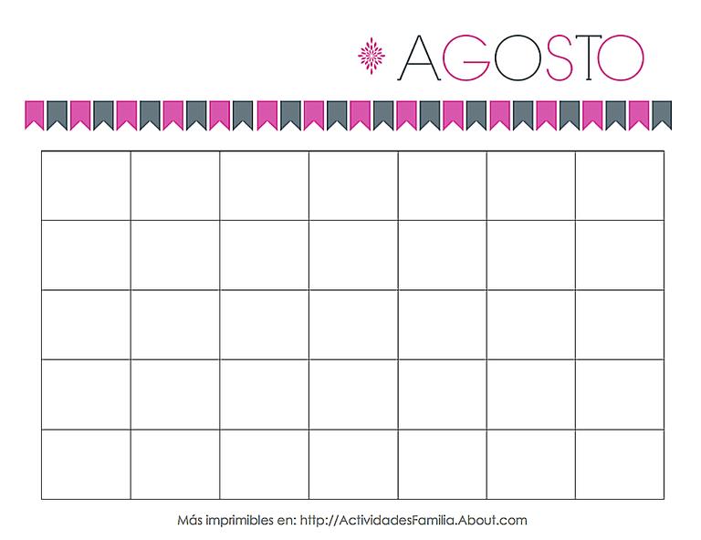 Calendario Agosto Personalizable