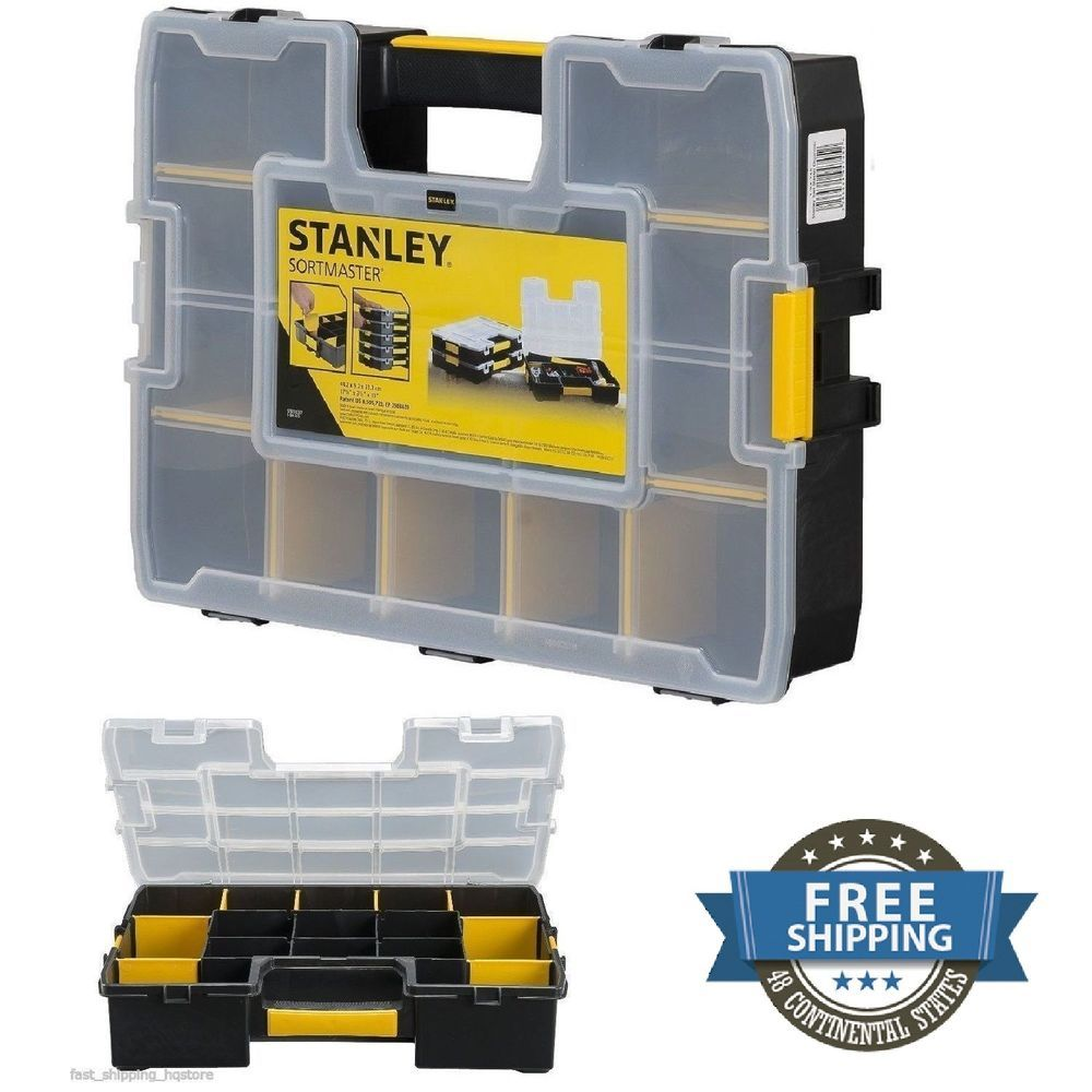 Small Parts Storage Organizer Stanley Plastic Tool Box Stackable Case  Sorter #Stanley