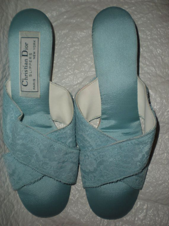 Vintage Dior Blue Satin And Lace Bedroom Slippers Size 7