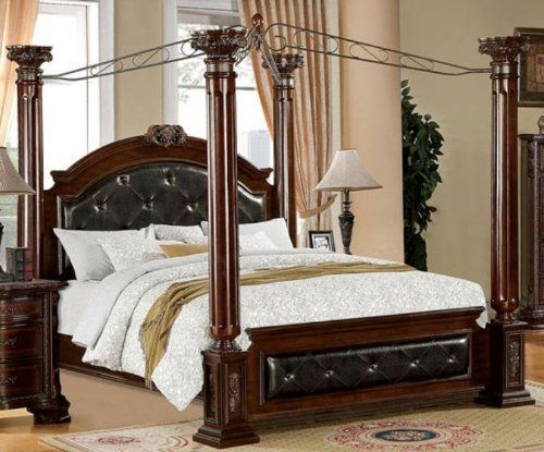 mandalay brown cherry finish cal king size bed frame set by 247shopathome http