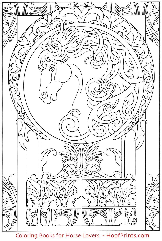 Art Nouveau Animal Designs Coloring Book | Coloring Books for Horse ...