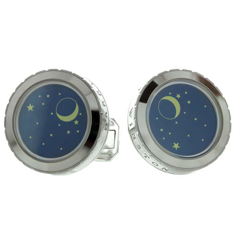 Harry Winston Blue Enamel Night Sky Stars Moon White Gold Cufflinks | From a unique collection of vintage cufflinks at http://www.1stdibs.com/jewelry/cufflinks/cufflinks/