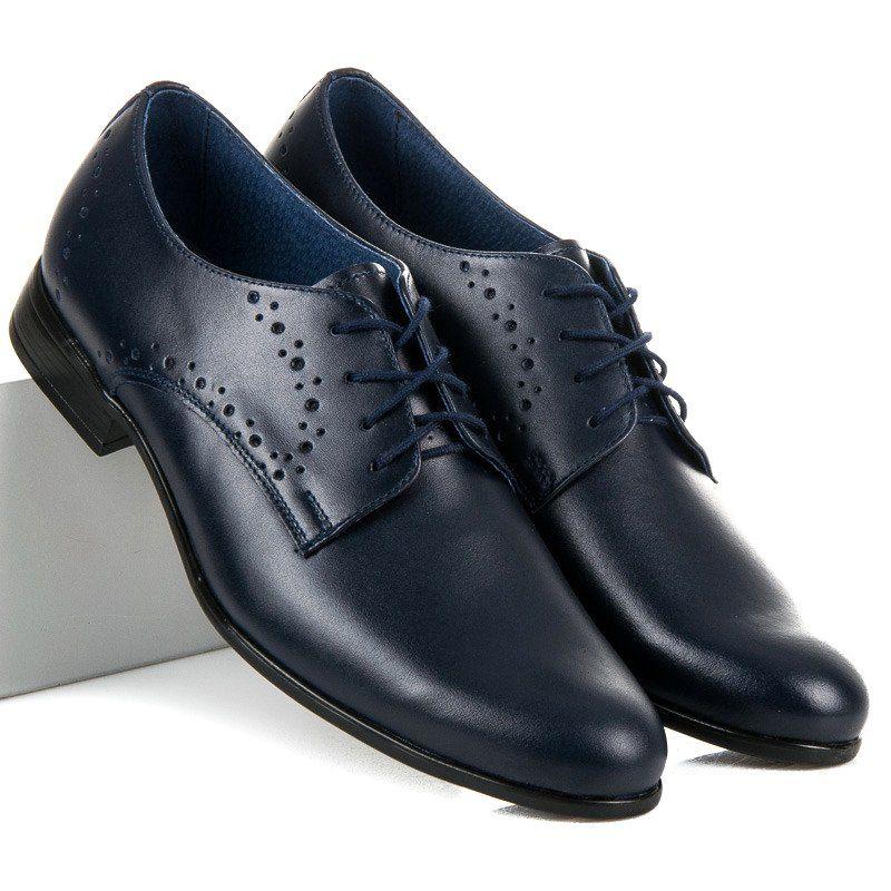 Polbuty Meskie Lucca Niebieskie Granatowe Eleganckie Buty Lucca Dress Shoes Men Oxford Shoes Dress Shoes