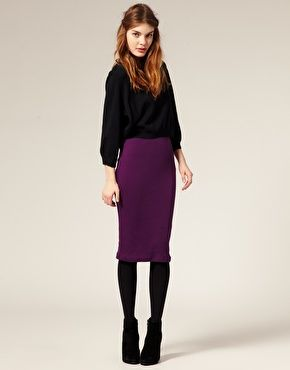 I like that this pencil skirt is long. I also love this deep purple color with the black