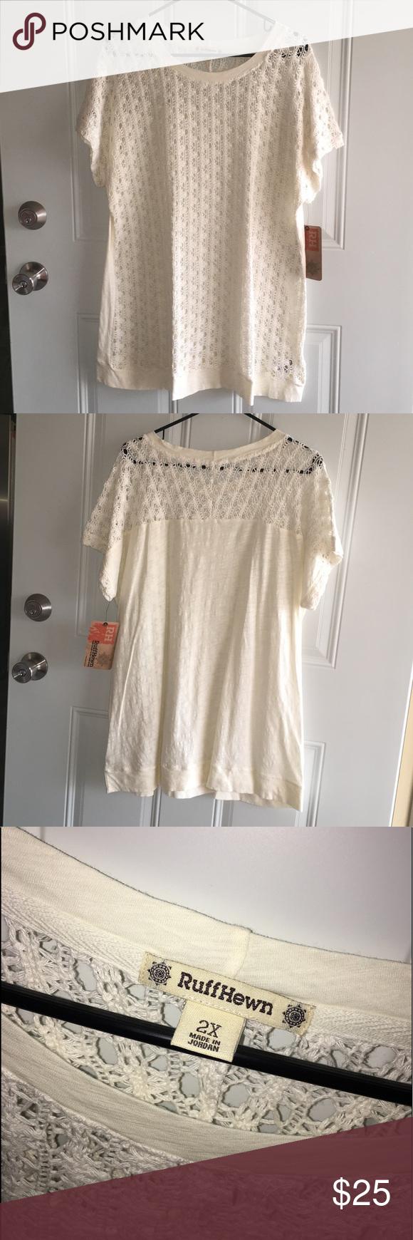 Vintage white transparent lace short sleeve shirt.