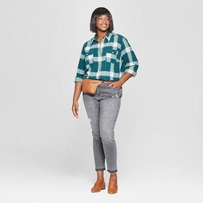 4a5d7055 Women's Plus Size Plaid Long Sleeve Flannel Shirt - Universal Thread Green  3X