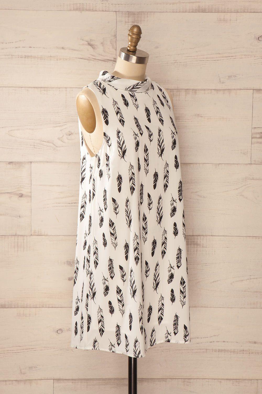 Pinerolo - White feather print cowl neck shift dress