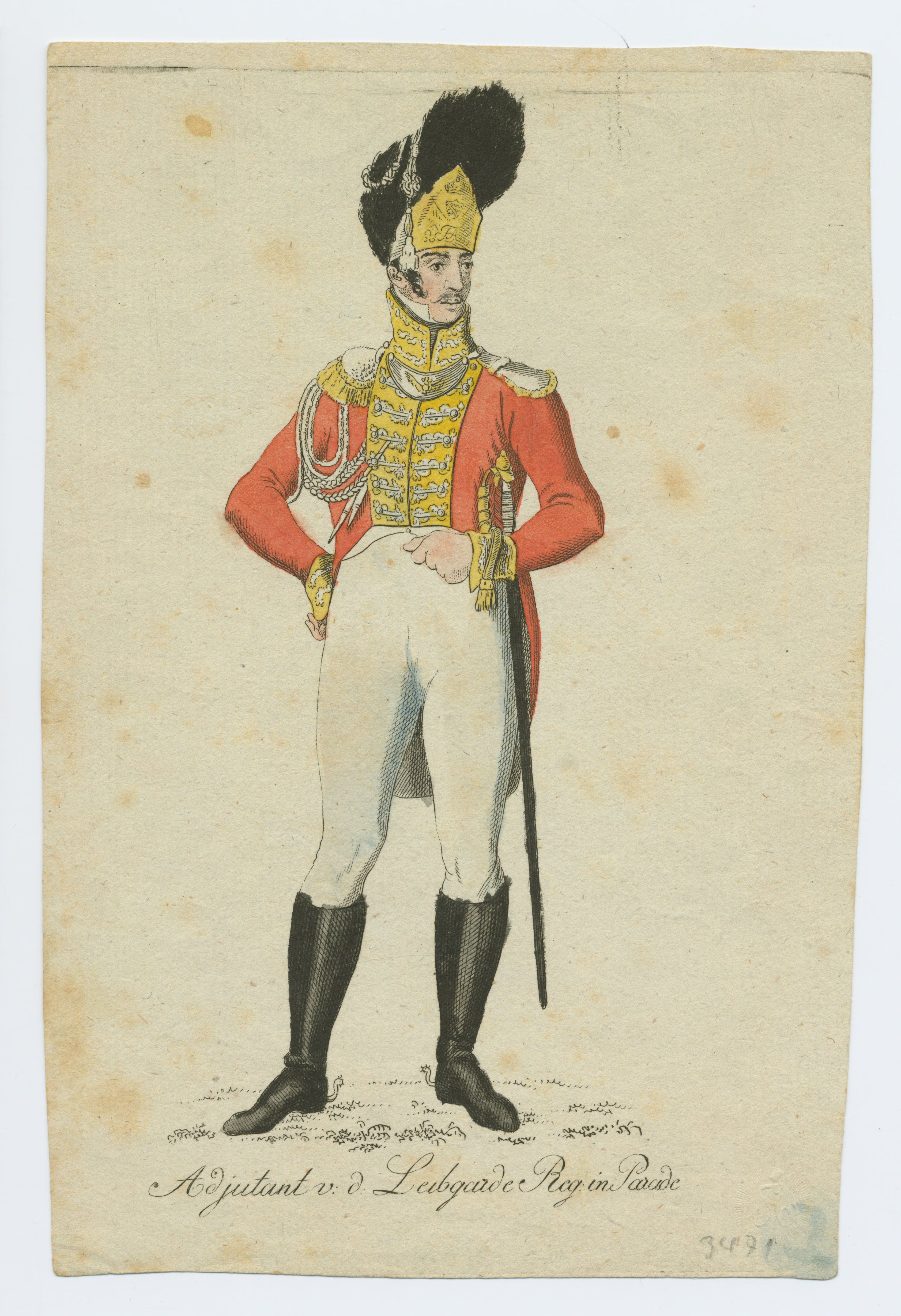sofa army germany sectional with sleeper and chaise saxony leibgarde regiment adjutant full dress 1811