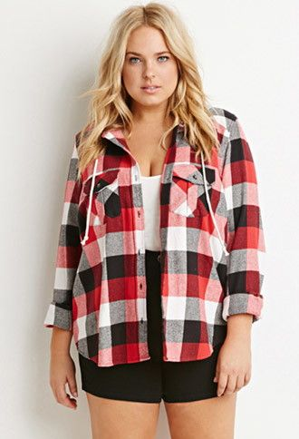 modern style new images of size 40 Plus Size Hooded Plaid Flannel Shirt | Forever 21 PLUS ...
